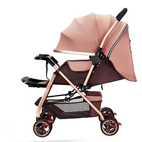 Sillas de paseo Cochecito de bebé High Landscape Four Seasons Universal Sit o Lie Cochecito recién nacido, bidireccional Ultraligero portátil paraguas para niños, altura ajustable plegable Anti-joroba