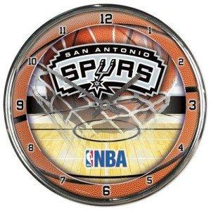 Hall of Fame Memorabilia San Antonio Spurs Round Chrome Wall Clock image