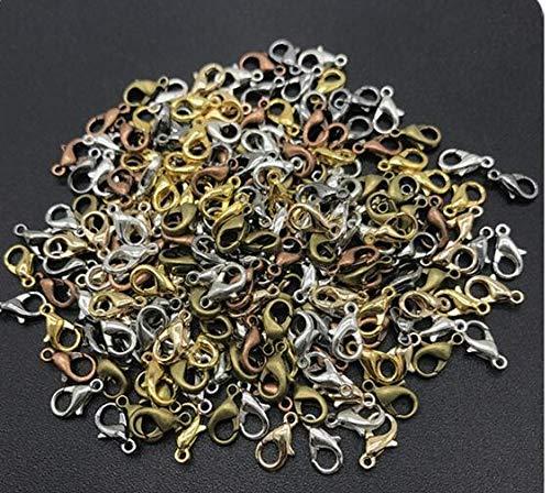 HanPaint Resultados de la joyería 100pcs / Lot antigüedad de la aleación de Bronce/Oro/rodio Cierre de Langosta Ganchos para el Collar y la Pulsera de Cadena 10-18m m Multicolor 18mm