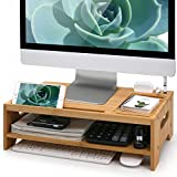 Bamboo Monitor Stand Riser, with Charging Holes, Media Slots Compatible with AirPods, Kindle, Tablets, Cell Phones, 2 Tiers Desktop Organizer, Versatile as Printer Laptop Holder