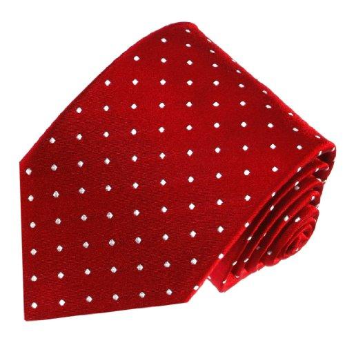 Lorenzo Cana - Luxuriöse Marken Krawatten mit Punkten, Business Seidenkrawatte Markenkrawatte aus 100{769b0d76d1aac4b40c418618a951e6ce854707090e3c80f44def00a8068643d2} Seide, Rot, 150 x 7,8 cm