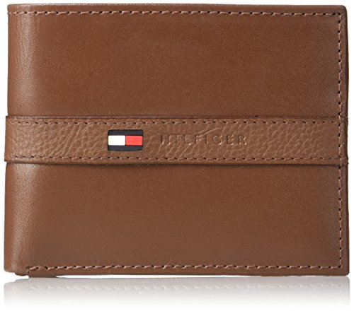 Tommy Hilfiger Men's Leather Wallet – Slim Bifold with 6 Credit Card Pockets and Removable Id Window, Light Tan, One Size