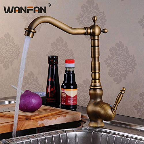 WANDOM antieke messing keukenkranen High Arch Tap klassieke retro waterkran keuken 360   graden draaibaar warme en koude mengkranen