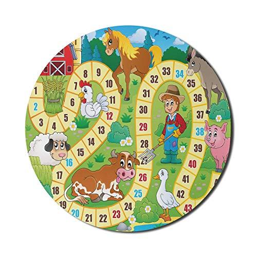 Alfombrilla de ratón para juegos de mesa para computadoras, rústica casa de campo, ambiente agrícola, animales, primavera en el bosque, diseño de guardería, redonda, antideslizante, de goma gruesa, mo