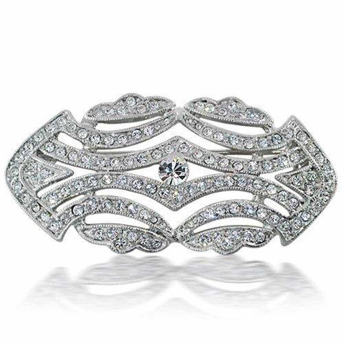 Bling Jewelry Große Kristall Mode Art Deco Vintage-Stil Gatsby Schal Broschen & Anstecknadeln Für Damen Messing Inspiriert