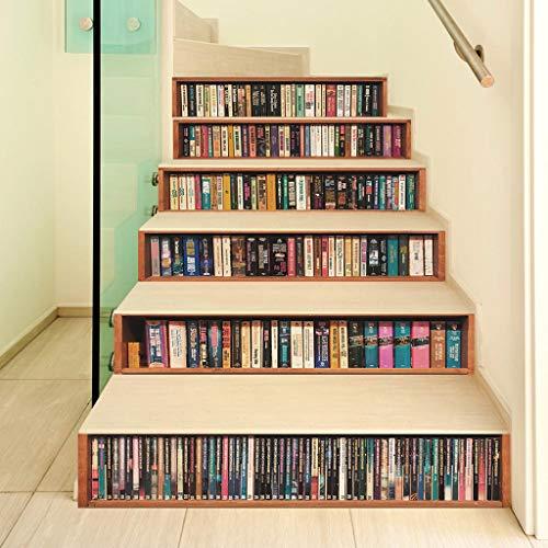 Youliy 3D-Bücher, selbstklebende Treppen-Aufkleber, Treppen-Aufkleber, Tapete, Heimdekoration, 6 Stück