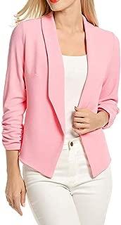 Misaky Women's Cardigan Work Office Suit 3/4 Sleeve Blazer Open Front Short Jacket