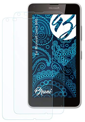 Bruni Schutzfolie kompatibel mit Microsoft Lumia 640 Folie, glasklare Bildschirmschutzfolie (2X)