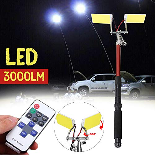 Sthfficial 3,75 m 12 V telescoop LED hengel outdoor zaklamp afstandsbediening camping licht voor reizen autorijden reizen