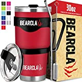 MalloMe Bearclaw Tumbler With Straw - Insulated Stainless Steel Coffee Mug Travel Cup For Water - 2 Leak-Proof Lids, Metal Straw, Brush, Handle - 30 oz Silver