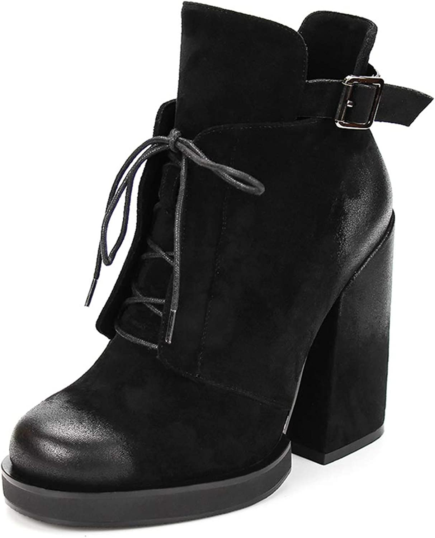 SaraIris Women's Fashion Leather Chunky Heel Buckle Strap Ankle Booties