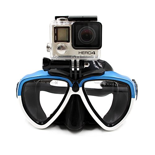 TELESIN Vaso de buceo de silicona con máscara de buceo desmontable Máscara de buceo gafas de natación para deportes Cámara GoPro HD Hero 2 3 4 5 6 (azul y blanco)