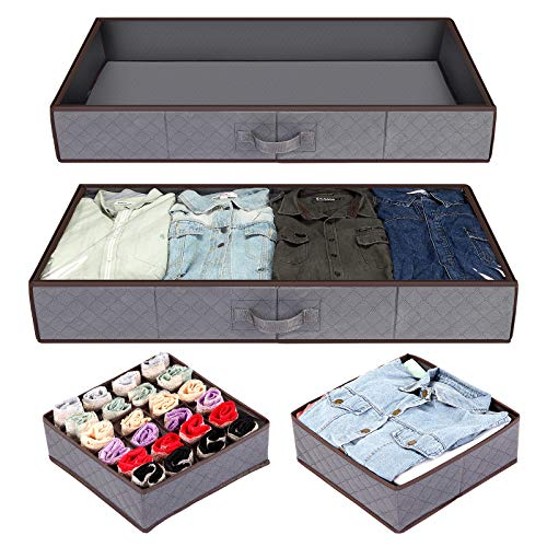 Anyoneer Under bed Storage Containers, Drawer Organizer, Set of 4, UnderBed Storage for Clothes, Blankets and Shoes, Woven Fabric with Panel Structure, 39.5
