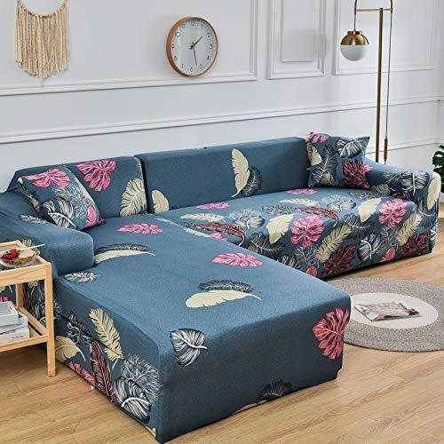 ASCV Fundas de sofá elásticas Impresas para Sala de Estar Funda de sofá Esquina en Forma de L Chaise Longue Sillón Sofá Funda A5 2 plazas