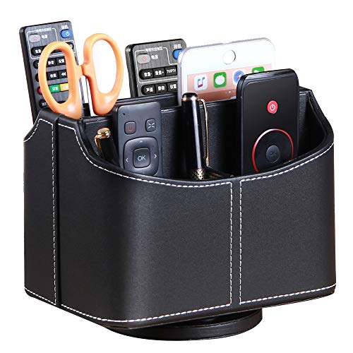 Remote Control Holder 360 Degrees Rotatable Desk Stationery Supply Organizer PU Leather Desktop Storage Box for Controllers Media Bedside Spinning TV Caddy E-reader iPad Mobile Pencil Cosmetic(Black)