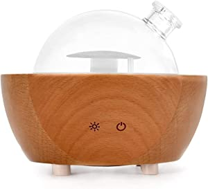 Glass Aromatherapy Essential Oil Diffuser, 200ml Natural Wood Base, Desktop Ultrasonic Aroma Diffuse Essential Oil Humidifier,LED Light Available in 7 Colors, Suitable for Home Office Bedroom
