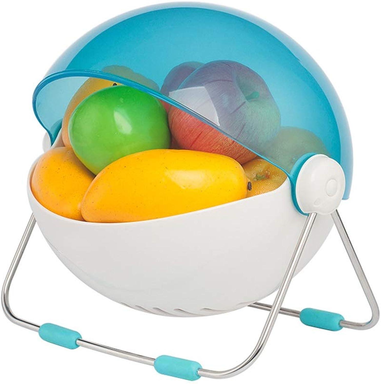 BEN-YI Fruit Kitchen Double Drain Basket Créatif en Plastique à Laver Fruit Basket Rond Couvert Collations Stockage Panier De Fruits Fruit Basket -Corbeille de Fruits (Couleur   Bleu)