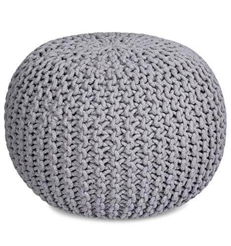 BIRDROCK HOME Round Pouf Foot Stool Ottoman - Knit Bean Bag Floor Chair - Cotton Braided Cord - Great for The Living Room, Bedroom and Kids Room -...