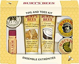 Burt's Bees Tips and Toes Kit Gift Set, 6 Travel Size Products in Gift Box - 2 Hand Creams, Foot Cream, Cuticle Cream, Hand Salve and Lip Balm