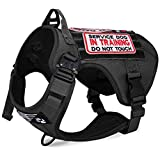 voopet Tactical Dog Harness with 6Pcs Removable Tags - Adjustable No Pull Military Service Dog Vest with Hook & Loop Panels for ID Patch, K9 Pet Working Training Molle Vest with Easy Control Handle