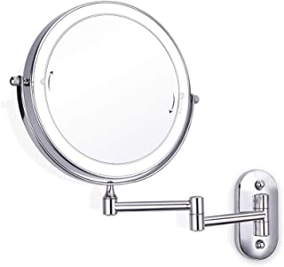 8 Inch Extendable Two-Sided Swivel Wall Mount Makeup Mirror,LED Lighted Bathroom Vanity Mirror 360 Degree Rotation for Living Room/Beauty Salon/SPA Hotel,7xmagnifying