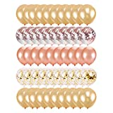 Monllack Globo de Oro Rosa, 50 Globos Decorativos de Confeti de Oro Rosa con Lentejuelas de látex, cumpleaños, Bodas, Festivales, Decoraciones para Fiestas (Oro Rosa)