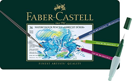 Faber-Castell - Aquarellstifte Albrecht Dürer, 36er Metalletui + Art und Graphic Wassertankpinsel