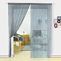 HSYLYM cortina espagueti para Puerta,divisor de habitación,decoración del hogar,poliéster,Gris,90x245cm