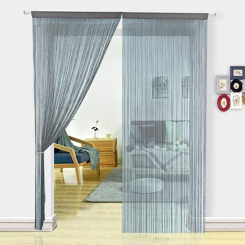 HSYLYM Fadenvorhang Schlafzimmertür, als Insektenvorhang oder Raumteiler verwendbar, Polyester, grau, 90x200cm
