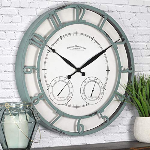 "FirsTime & Co. Laguna Outdoor Wall Clock, 18"", Aged Teal"
