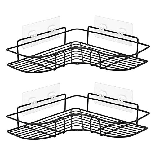 Juego de 2 estanteria baño con almacenamiento en negro mate | Estanteria ducha esquina de 36 x 12 x 6 cm | Organizador de ducha estanteria baño sin taladro fácil instalación
