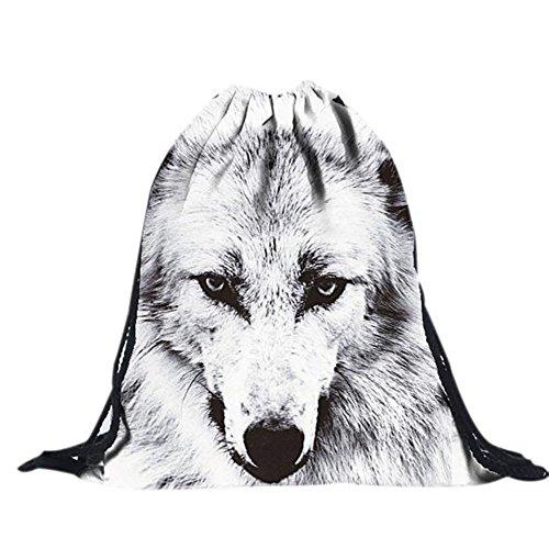 Beutel Tasche Rucksack Turnbeutel Print Wolf