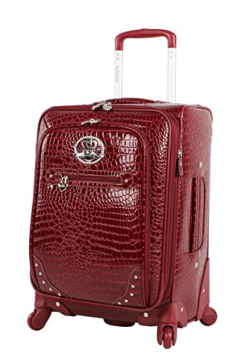 Kathy Van Zeeland Croco PVC Designer Luggage - Lightweight Expandable 20 Inch Carry on Suitcase for Women - Small Durable Bag with 4-Rolling Spinner Wheels (Burgundy)