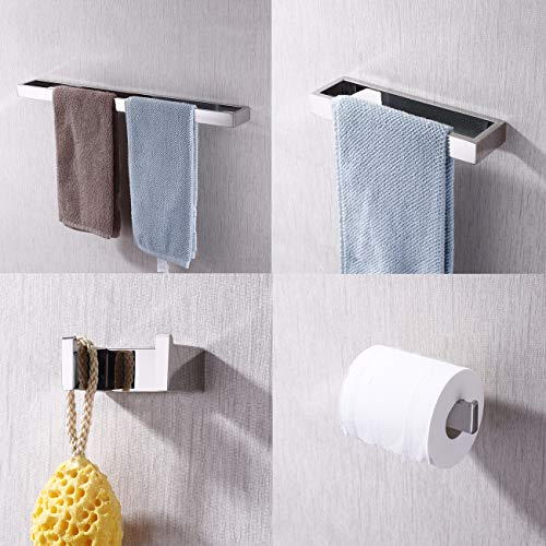 KES Bathroom Accessories Set 4-Piece Including Towel Bar Toilet Paper Holder Towel Ring Robe Hook Rustproof Wall Mount SUS 304 Stainless Steel Polished Finish, LA2300-42
