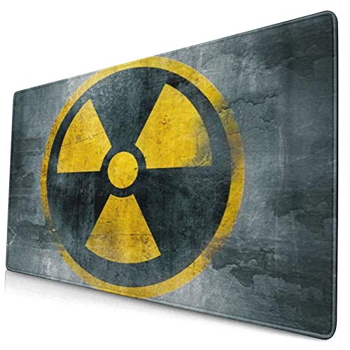 CANCAKA Large Gaming Mouse Pad,Yellow Nuclear Radioactive Symbol Reactor Sign Hazard Radiation Waste,Non-Slip Rubber Mouse Pads Mousepad for Gaming Computer Office Desk,75×40×0.3cm