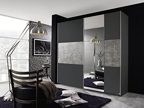 Rauch Schwebetürenschrank 218 cm grau/Betonoptik mit Spiegel Packs