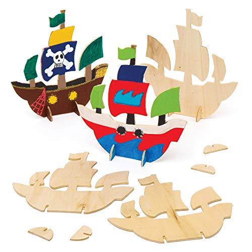 Baker Ross Piratenschiffe aus Holz zum Aufstellen (6 Stück) – für Kinder zum Basteln und Gestalten von 3D-Piratenschiffen