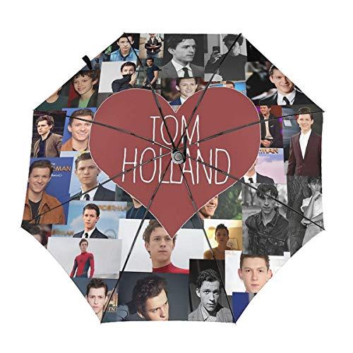 ScDJrock I Love Tom Holland Collage Modedruck Winddicht Automatik-Dreifachschirm Sonnenschutz UV-Schutz Sonnenschirm Inside Print