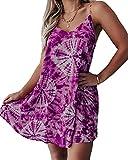 Sommer Frauen Tie-Dye V-Ausschnitt Gedruckt Casual Loose Suspender Kleid