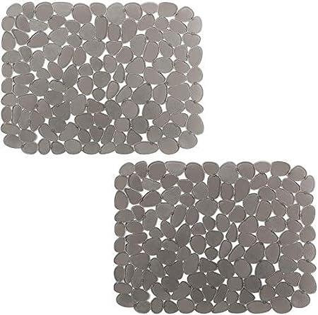 Alfombrilla para fregadero Sillín para fregadero de cocina Material de PVC Cojines de diseño guijarros Fregaderos Salvaplatos Alfombrilla para secar platos para accesorios de cocina 40X30CM(#Gris,2)