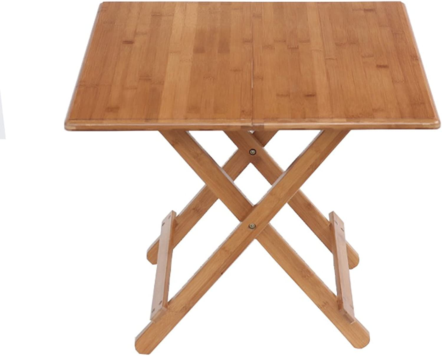 Folding Table Household Dining Table Portability Table Multifunction Bamboo Table Study Table Leisure Table (Size   60  60  50CM)