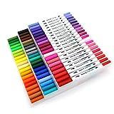 60 rotuladores para colorear con puntas dobles de fieltro de 0,4 mm y 2 mm - Rotuladores al agua ideales para arte y para Bullet Journal