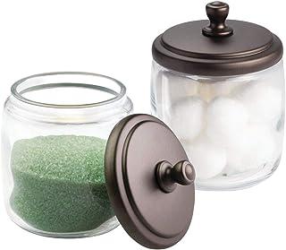 mDesign distributeur de boules de coton (lot de 2) – bocal en verre solide avec couvercle – boite de rangement coton-tige,...