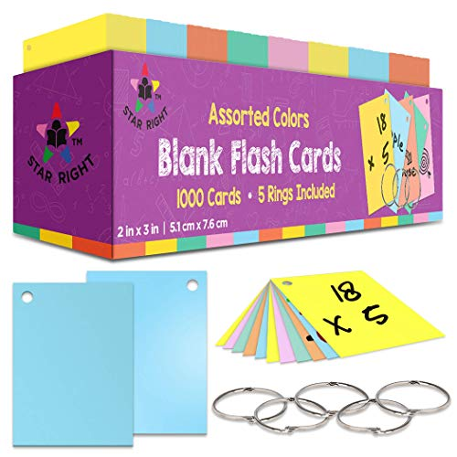 Star Right Blank Flashcards in Assorted Colors | 1000 Hole-Punched Cards with 5 Metal Sorting Rings | for School, Learning, Memory, Recipe Cards, and More
