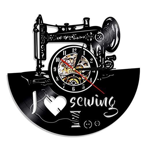 JJYM Kledingmakerij wandklok Ik liefde naaien wooncultuur wandklok naaimachine geluidsplaat klok naaister geschenk klok