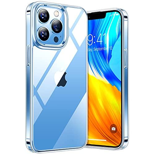 TORRAS Diamond Series Kompatibel mit iPhone 13 Pro Hülle Ultra Transparent (Vergilbungsfrei) Case Stoßfestigkeit Schutzhülle Hard PC Back Silikon Bumper Handyhülle für iPhone 13 Pro-Durchsichtig