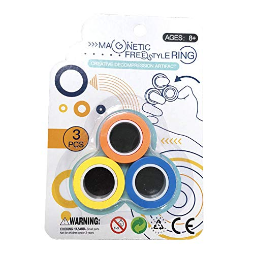 YIY Magnet Toys, Fidget Spinner, Stress Relief Magnetic Ring Finger Spinning in the Air, Colorful Magnetic Rings Fidget Toy, Anti-stress Fidget for Games, Kid, Adult (Tricolor)