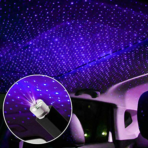 USB car Full Star Atmosphere Light Starlight Projection Night Light LED Interior Light Starry Night Light Modified car Interior Decoration - Plug and Play (Blue)