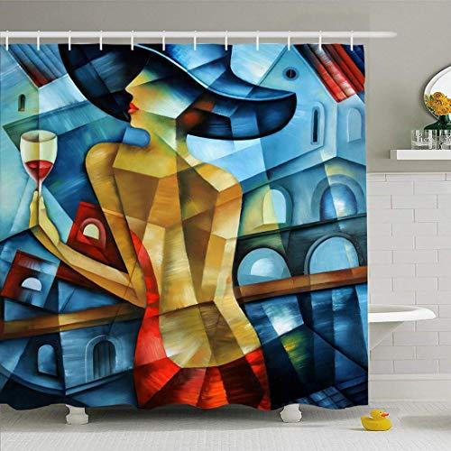 Conjunto de cortina de ducha con ganchos Mujer elegante Cubismo Gente Modelo Belleza Cara cubista Resumen Cubista Moda Antiguo Suprematismo Impermeable Tela de poliéster Decoración de baño para baño