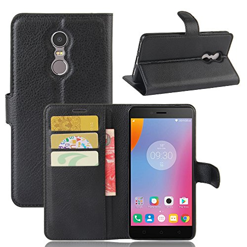 95Street Lenovo K6 Note Handyhülle Book Case Lenovo K6 Note Hülle Klapphülle Tasche im Retro Wallet Design mit Praktischer Aufstellfunktion - Etui Schwarz
